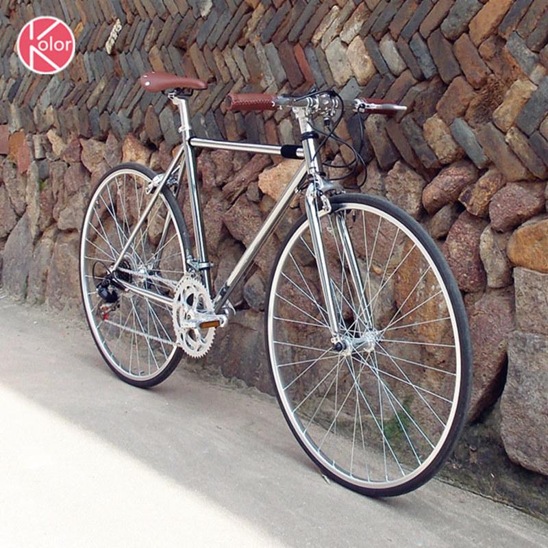 Kolor700c 公路复古自行车变速自行车电镀银学生城市i男女公路车