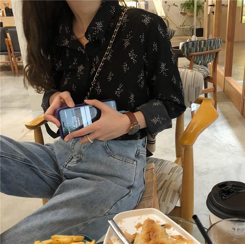 限10000张券女韩版设计感小众复古港味碎花衬衫