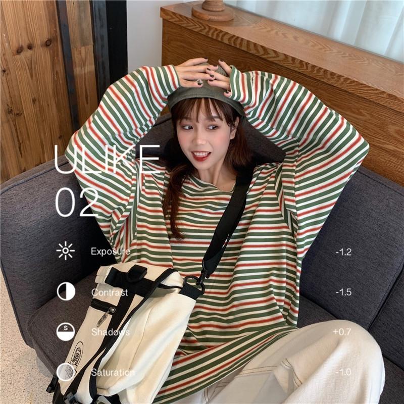 秋季网红彩虹条纹长袖女装学生t恤(非品牌)