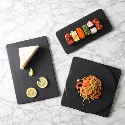 哑光黑色陶瓷餐盘蛋糕甜品面包盘酒店小吃寿司盘子早餐盘平板托盘