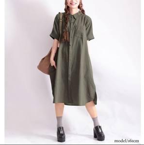 2021日系贵牌宽松短袖长款衬衫棉布中长款纯色女款连身衣连衣裙