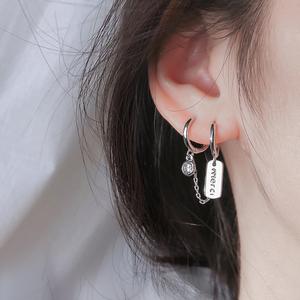 双耳洞耳环2021年新款潮耳环韩国气质网红银耳环女耳钉女纯银耳饰