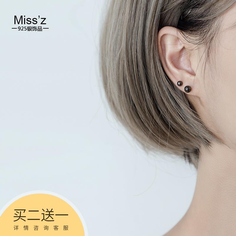 10月10日最新优惠s925纯银黑色圆球女韩国简约耳钉