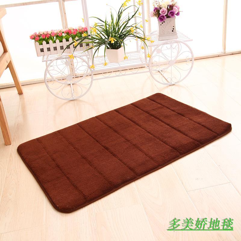 珊瑚绒竖条纹记忆棉地毯地垫卫生间防滑垫浴室吸水垫门垫脚垫