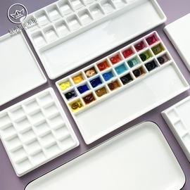 【微瑕】陶瓷水彩国画长方形多格白瓷调色盘 敏小姐美术馆