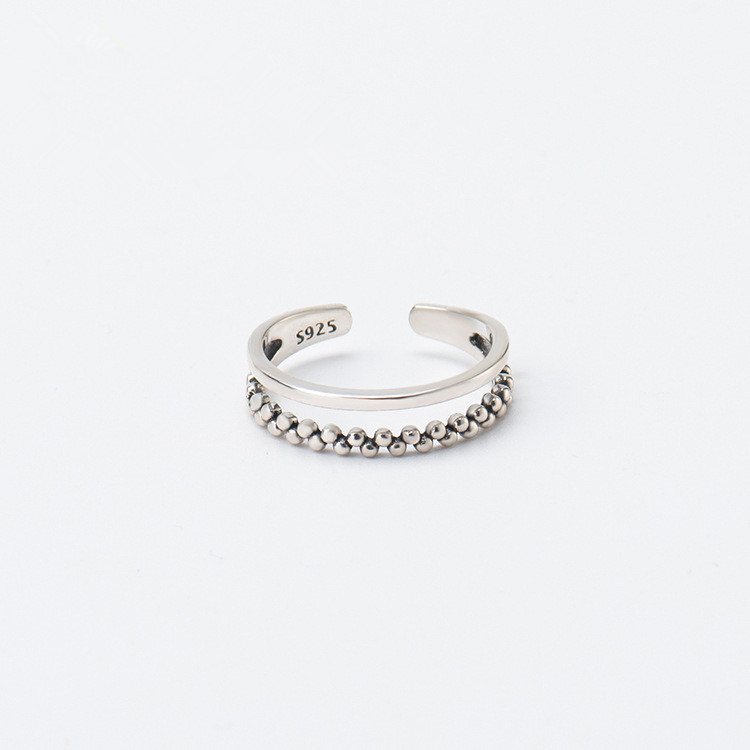 Sterling Silver Diamond Set open ring Thai silver irregular small round bead retro joint ring S925 silver womens flower ring