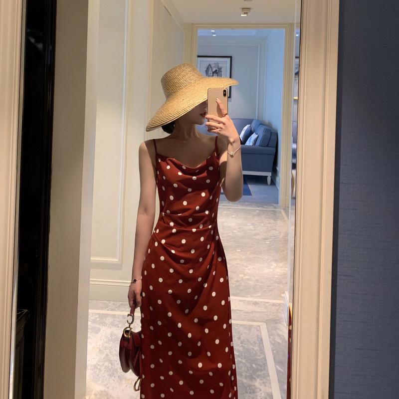 满59.80元可用10元优惠券波点连衣裙吊带裙雪纺法式小众复古裙收腰海边度假裙沙滩裙长裙女