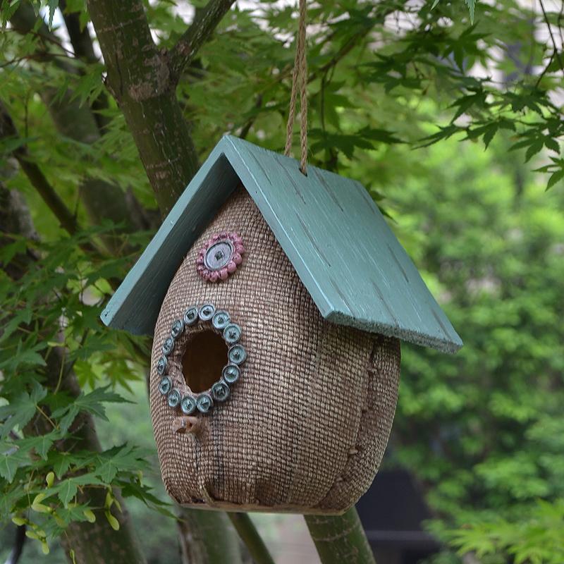 户外树脂鸟窝挂件鸟屋别墅花园庭院公园幼儿园装饰品挂饰园艺摆件