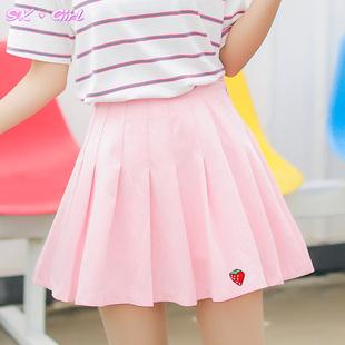 小清新夏新款高腰草莓百褶裙白短裙女粉色裙子半身裙学生ulzzang