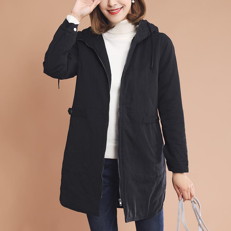 棉服女中长款2017冬装新款韩版时尚纯色连帽棉衣女士轻薄冬季外套