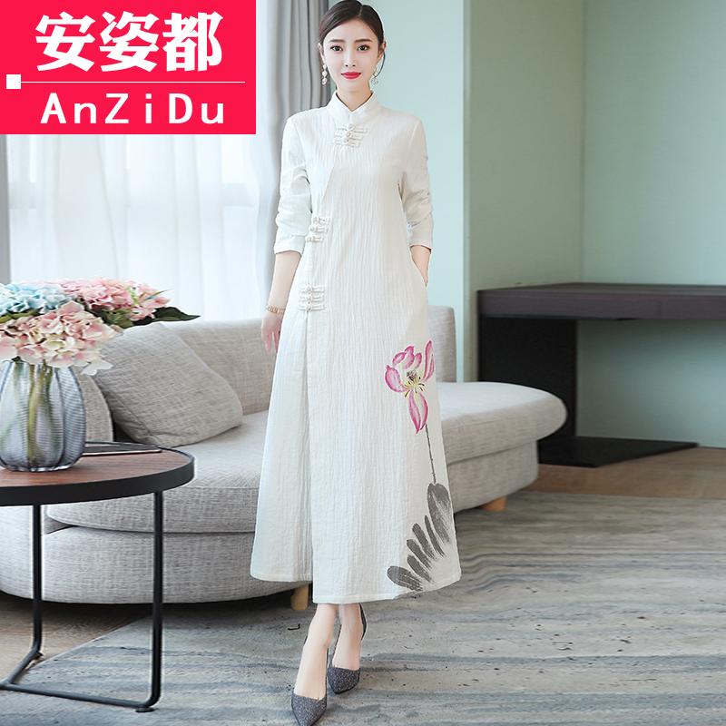 茶服女秋装禅意文艺中国风女装复古风汉服改良旗袍棉麻长袖连衣裙