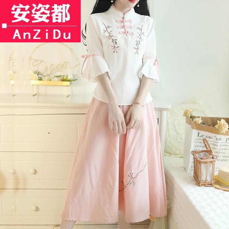 民国少女装唐装套装夏装两件套复古风棉麻汉服中国风改良旗袍上衣