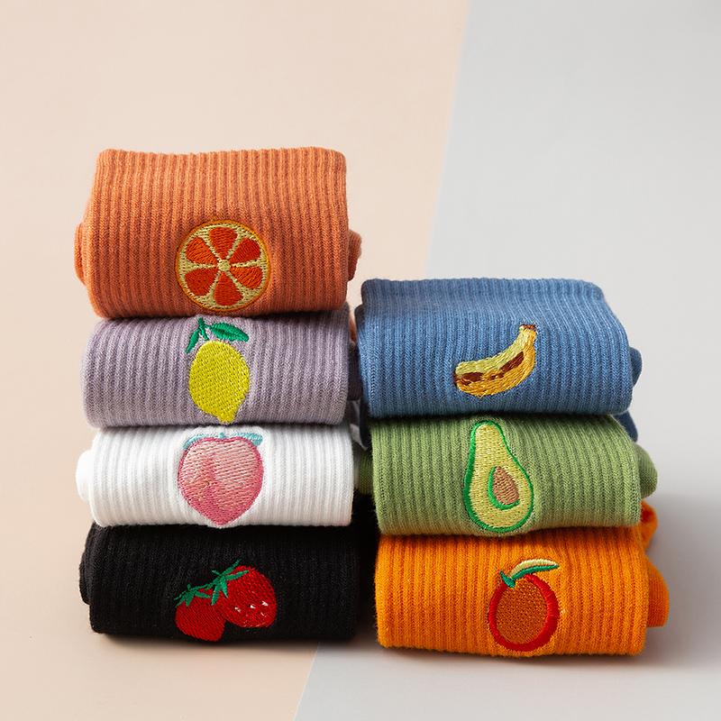 韩国ins潮刺绣水果少女甜美中筒袜学院风百搭彩色运动袜子