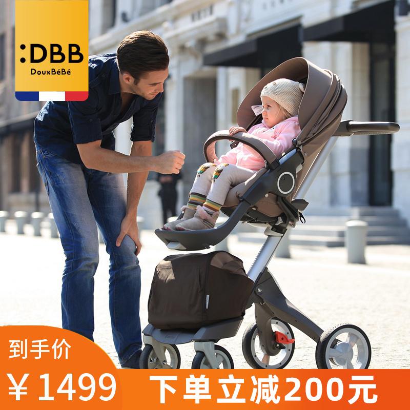 Douxbebe婴儿高景观避震推车轻便折叠可坐躺双向儿童手推车宝宝车