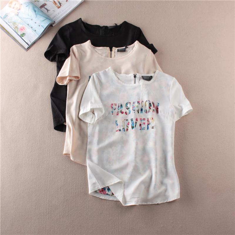 Экспортировать порядка стильный буквы вырежьте тонкий тонкий шифон рубашку с коротким рукавом в летних женщин WL-A15