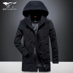 七匹狼风衣男中长款外套秋冬季户外运动夹克青年可脱卸连帽大衣潮