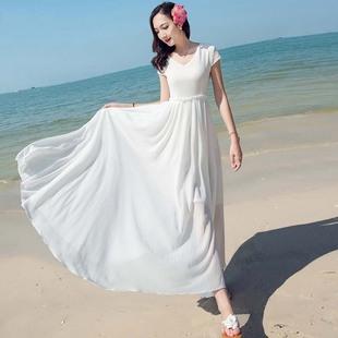 顯瘦雙層雪紡連衣裙跳舞裙海南三亞巴厘島海邊度假沙灘裙大擺長裙