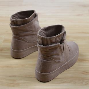 女加厚冬款 人本高帮棉鞋 保暖厚底雪地靴女百搭套筒加绒短靴子女潮