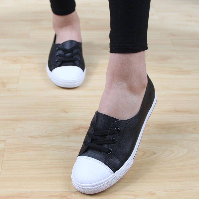 新款人本皮面帆布鞋女鞋浅口透气小白鞋护士鞋学生休闲鞋板鞋女潮