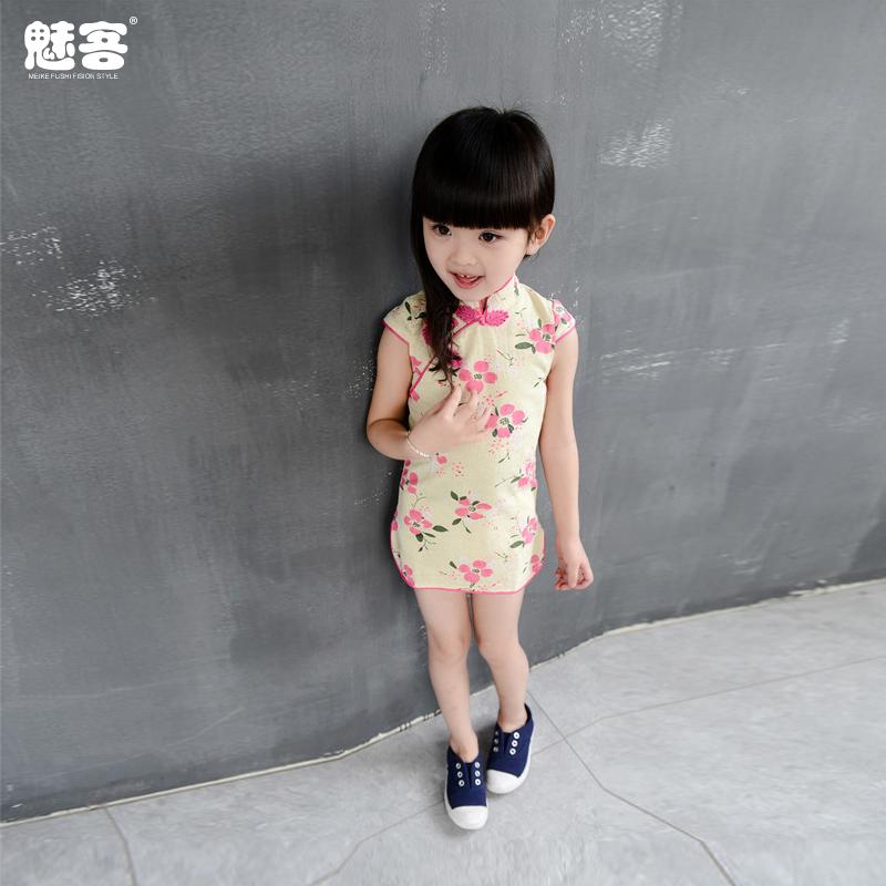 女童公主民族風棉麻旗袍