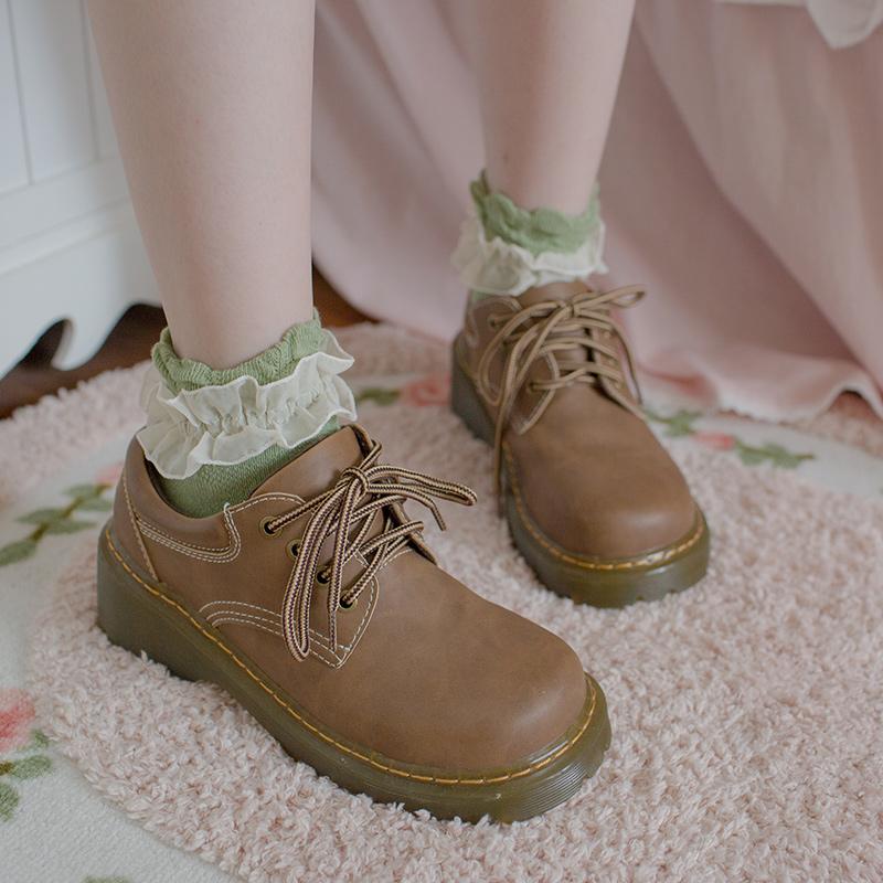 森系短袜复古蕾丝花边袜公主袜女士短袜纯棉袜子女短袜泡泡口