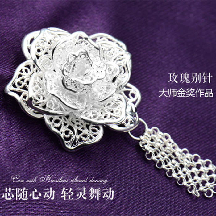 Huang Feida genuine handmade silver jewelry pure silver brooch female S990 full silver national style fashion versatile Rose Brooch