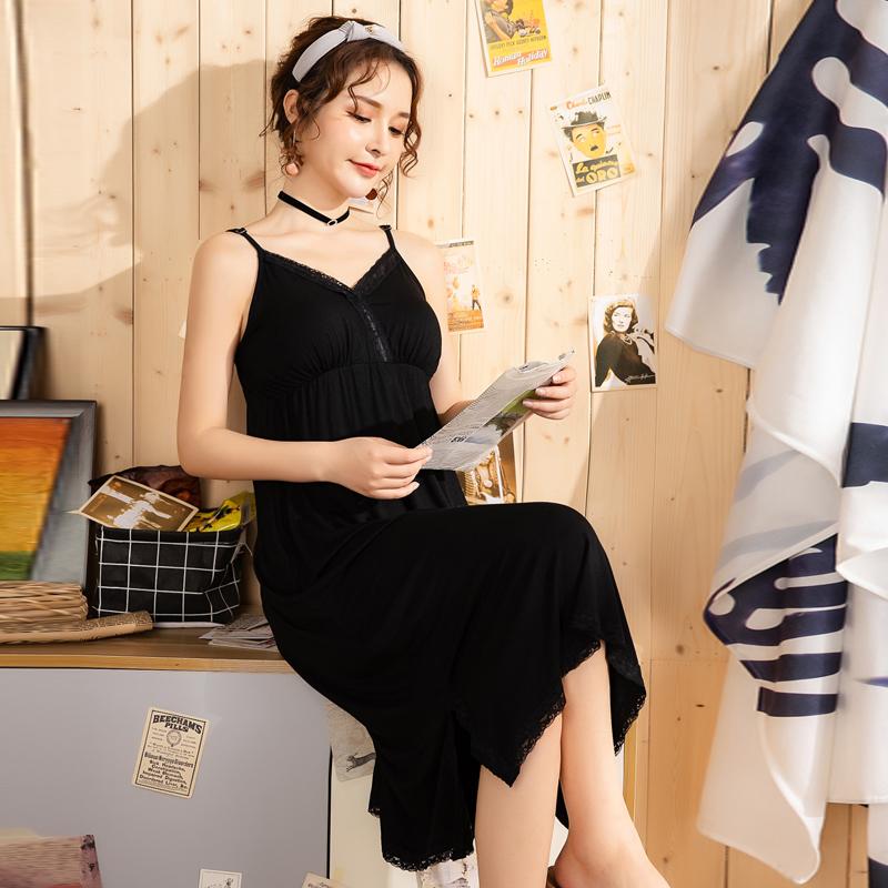夏季女士性感吊带睡裙带胸垫 莫代尔大码宽松胖MM200斤睡衣连衣裙