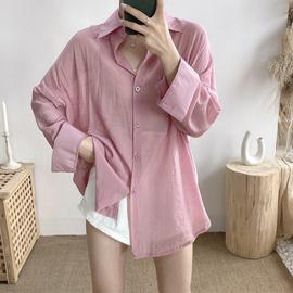 宽松长袖衬衫女夏季外穿薄款2020新款韩版中长款百搭防晒衬衣外套图片