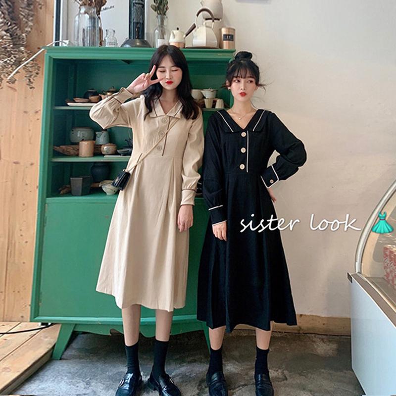秋季2019新款韩版复古V领收腰显瘦长袖连衣裙女中长款气质裙子潮