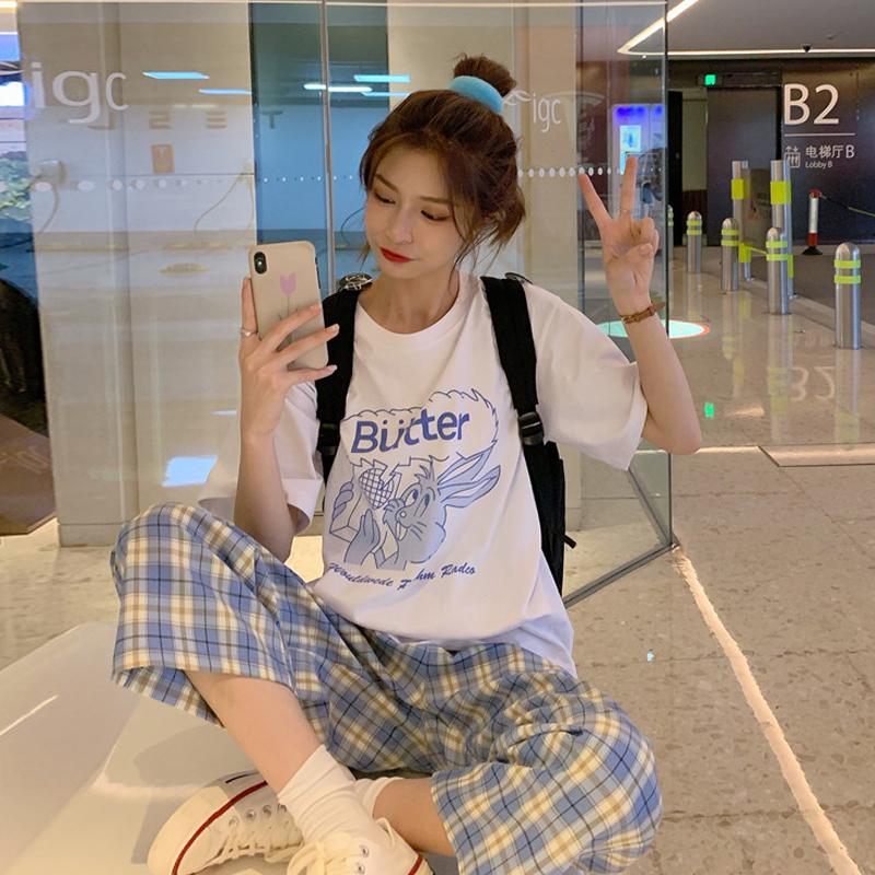 休闲时尚格子裤套装女春装2020新款韩版短袖T恤阔腿裤裤子两件套图片