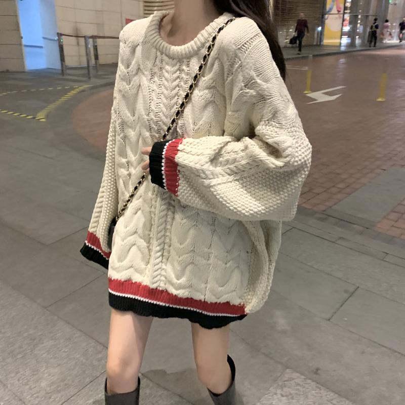 韩版复古百搭麻花宽松外穿套头毛衣秋季2019新款学院风针织衫外套