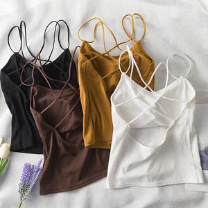 无袖背心女夏季2019新款带胸垫交叉美背裹胸吊带外穿潮打底衫上衣