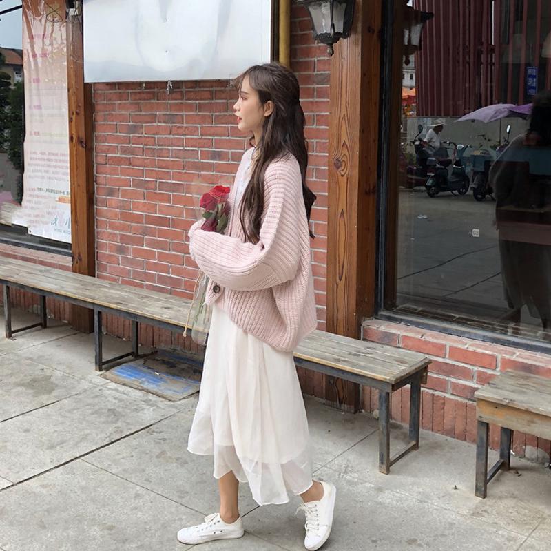 热销196件限时秒杀很仙的小香风套装女2019秋季新款韩版毛衣+连衣裙时尚洋气两件套