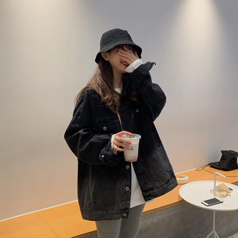 宽松bf中长款黑色牛仔外套女春秋2020新款韩版原宿风百搭复古上衣