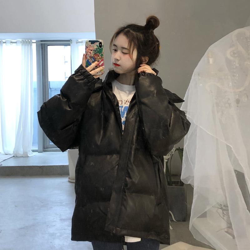 冬季2019新款韩版宽松bf百搭棉衣棉服女中长款加厚黑色面包服外套