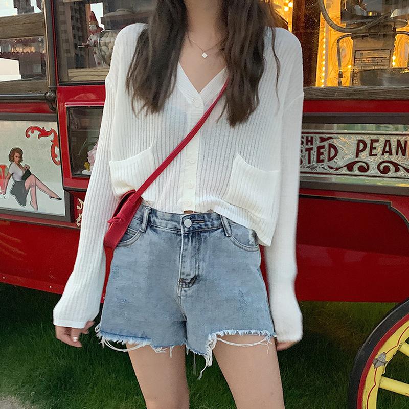 薄款防晒衫长袖上衣2019新款韩版宽松空调衫外套外搭开衫针织衫女