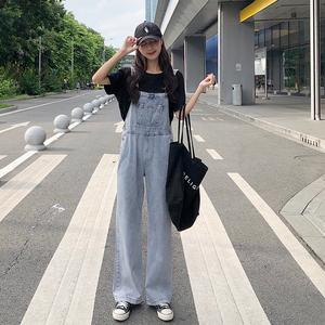 泫雅牛仔裤女秋季2019新款韩版显瘦直筒背带裤宽松裤子阔腿裤长裤