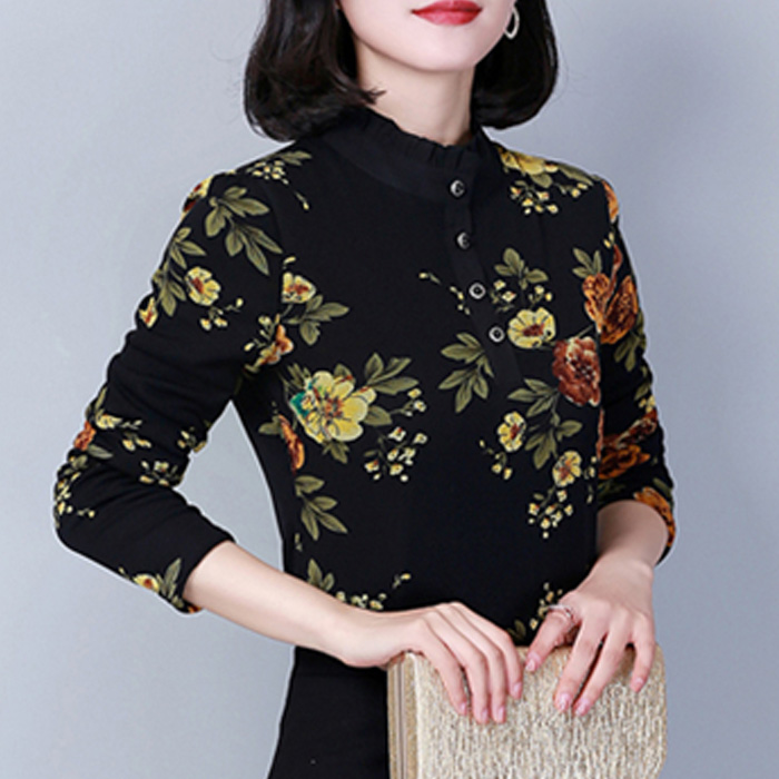 Lace shirt with long sleeves for women to keep warm