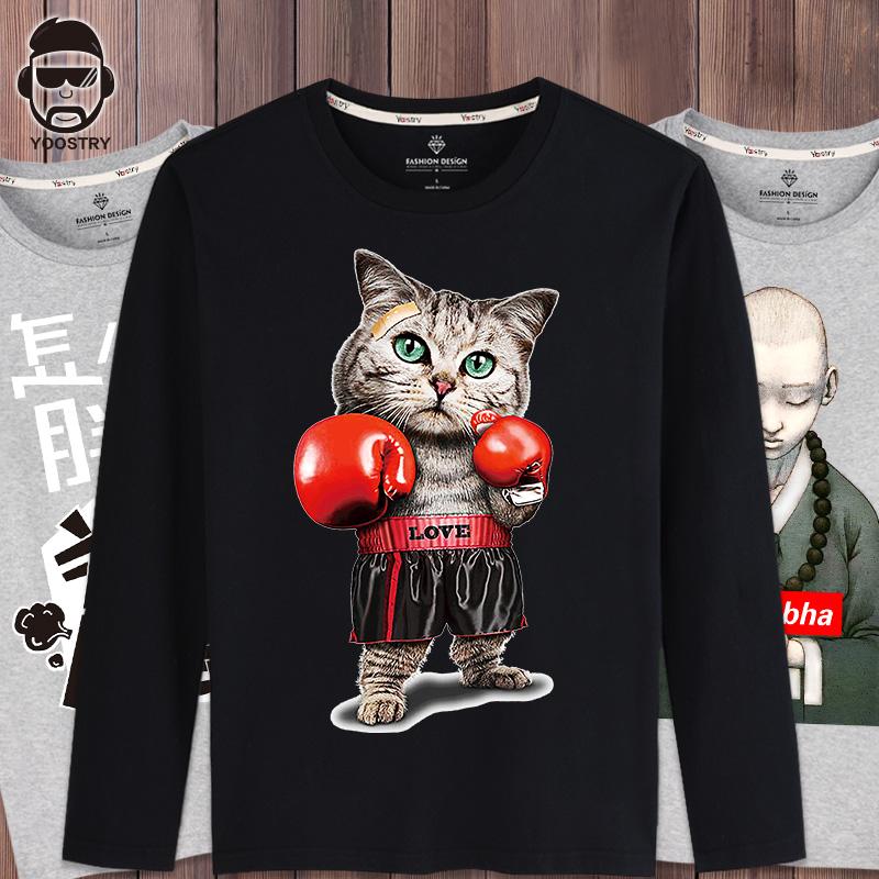 长袖T恤男2018新款韩版大码嘻哈宽松潮胖子加肥加大男士纯棉体恤