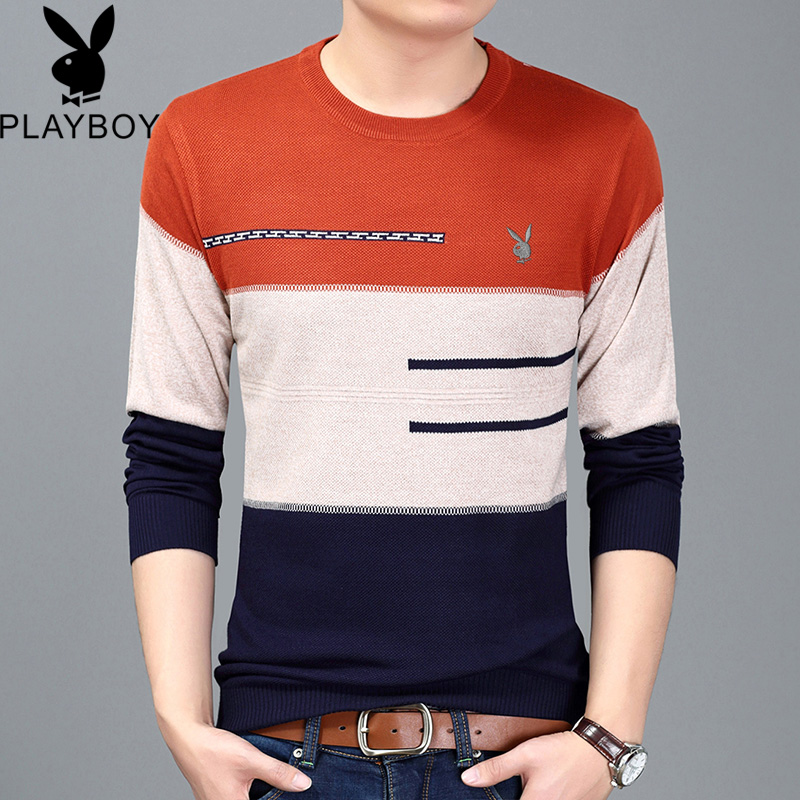 Playboy spring thin sweater mens round neck sweater youth striped sweater long sleeve T-shirt bottom coat