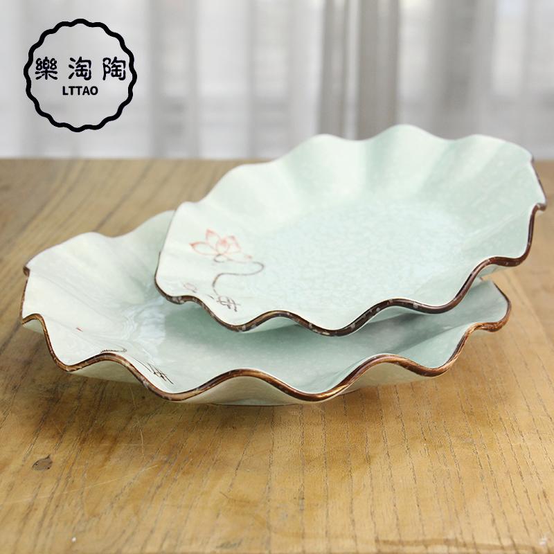 陶瓷饺子盘装菜盘子水果盘客厅家用创意波浪盘商用荷叶盘深饭菜盘