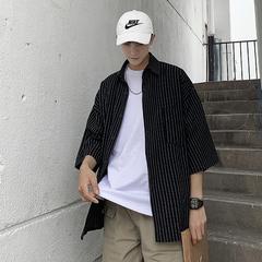 2019夏季港风BF竖条纹衬衫宽松韩版情侣七分袖衬衣潮CS903P50
