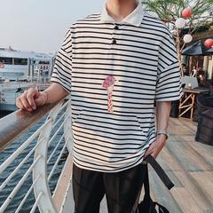 夏季男士新款韩版潮流袋鼠口袋polo衫条纹男T潮(不低55)17671P45