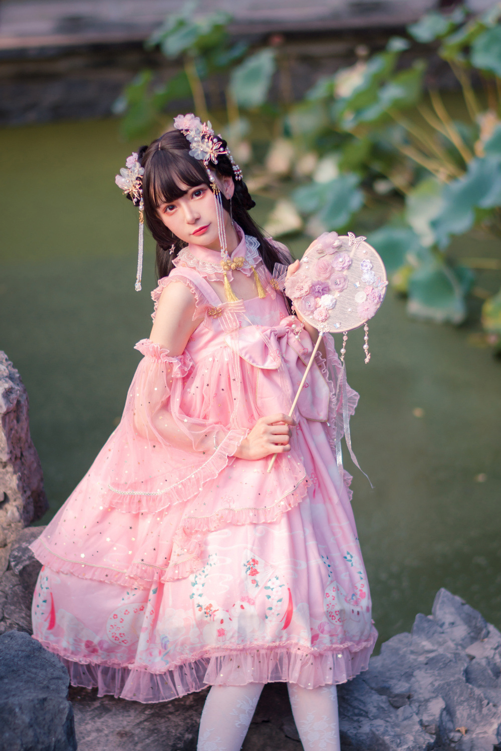 Original Lolita Guiyue rabbit jsk Chinese elements Chinese style chest length Lolita Dress national style classic Lo autumn