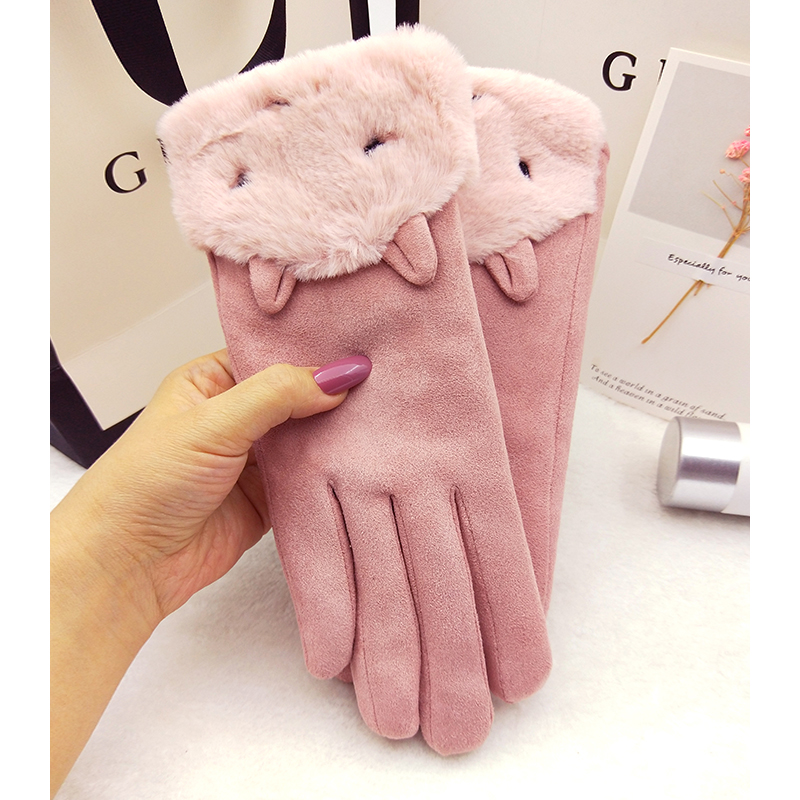 Gloves Winter women Plush warm warm outdoor cycling Korean suede touch screen five fingers cute students