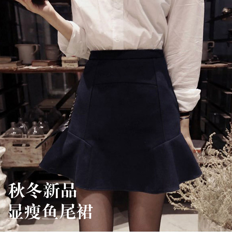 Autumn and winter 2018 new tweed fishtail skirt with buttocks and short skirt for slim women