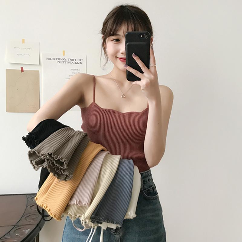 螺旋纹黑色吊带针织背心女2019夏季新款韩版外穿打底内搭无袖上衣