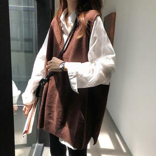 v领外穿马甲女韩版宽松显瘦毛衣