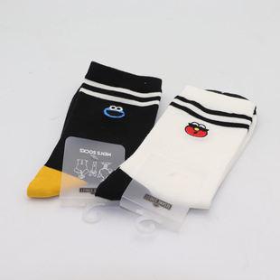 芝麻街條紋刺繡男士長襪 名創優品miniso正品卡通可愛舒適襪子
