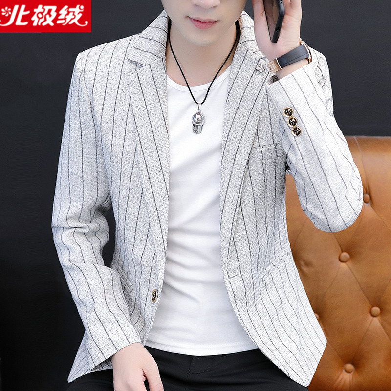 Authentic northern velvet mens coat casual small suit mens slim young handsome Korean striped single West